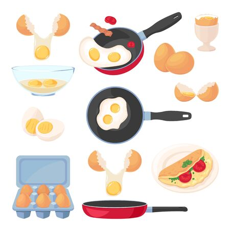 Eggs design elements set, isolated on white background. Vector breakfast meal, raw ingredients and cooking process. Food flat cartoon icons.