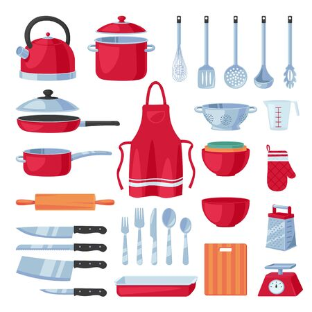 Kitchen utensil design elements set, isolated on white background. Vector cooking and kitchenware modern tools collection. Household flat cartoon icons. Illustration