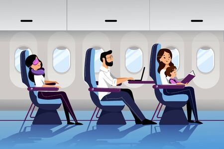 People travel by airplane in economy class. Vector flat cartoon illustration. Young mother travel with infant baby. Plane interior with sleeping and working passengers. Иллюстрация