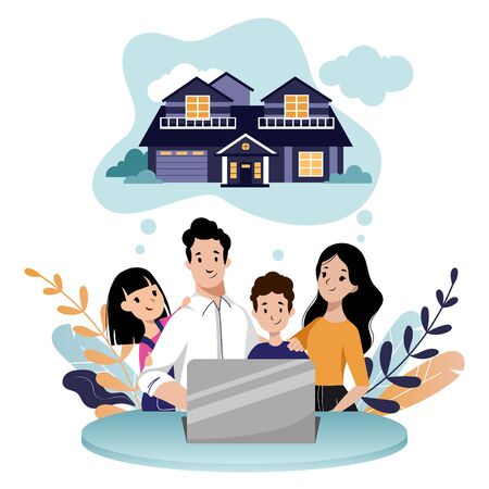 Happy young family with two kids looking for new home to buy or rent. Realty loan and mortgage, vector flat cartoon illustration. Online property search and real estate sale. Illustration