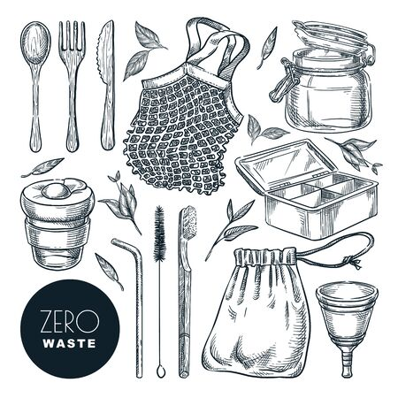 Zero waste lifestyle concept, vector sketch illustration. Hand drawn natural reusable items and accessories. Eco friendly goods icons and design elements set isolated on white background.