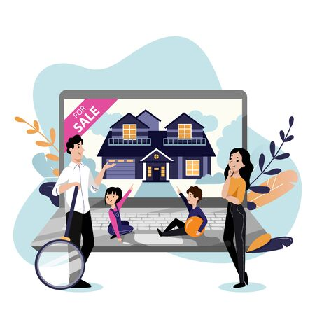Young happy family with two kids looking for house to buy. Vector flat cartoon illustration. Online sale or property rent.