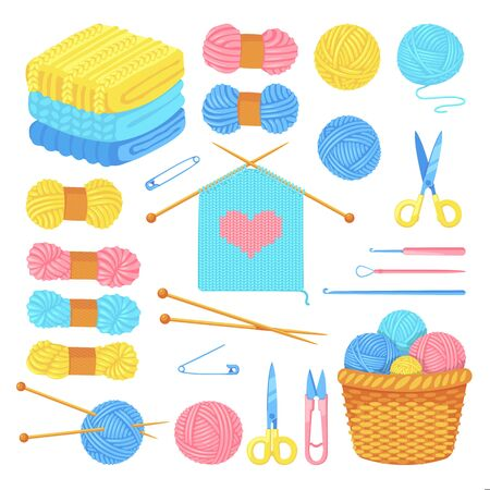 Knitting tools and wool yarn set, isolated on white background. Vector craft and handmade needlework design elements. Fashion hobby flat cartoon icons. Иллюстрация