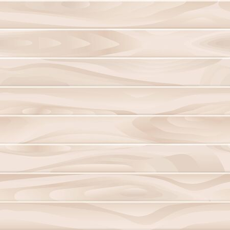 Wooden neutral beige seamless realistic texture. Light wood planks vector background. Table board or floor surface illustration. Ilustracja