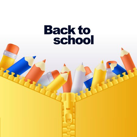 Back to school banner or poster background. Vector 3d multicolor pencils in open zip fastener pocket. Yellow backpack close up illustration. Modern education concept Иллюстрация