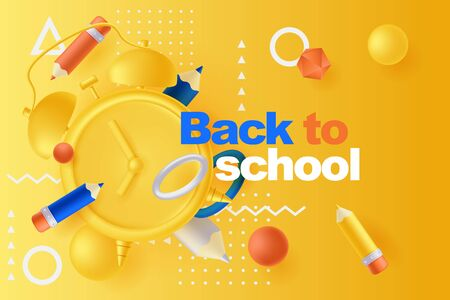 Back to school poster or banner design template. Vector 3d illustration of multicolor pencils, alarm clock and plastic geometric shapes flying on yellow background. Abstract modern education concept.