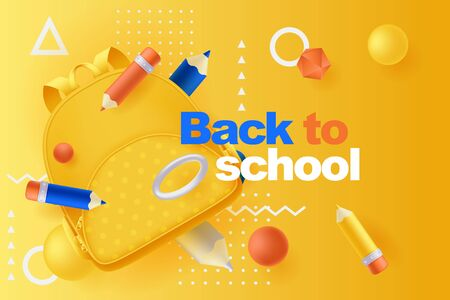 Back to school poster or banner design template. Vector 3d illustration of multicolor pencils, backpack and plastic geometric shapes flying on yellow background. Abstract modern education concept.