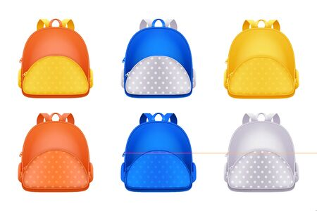 School backpack icons, isolated on white background. Vector 3d realistic illustration of multicolor kids rucksack. Education or travel modern design elements.