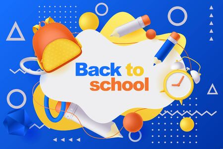 Back to school poster, banner design template. Vector 3d illustration of backpack, pencils, alarm clock and geometric shapes flying around white frame. Education modern blue gradient background. Иллюстрация