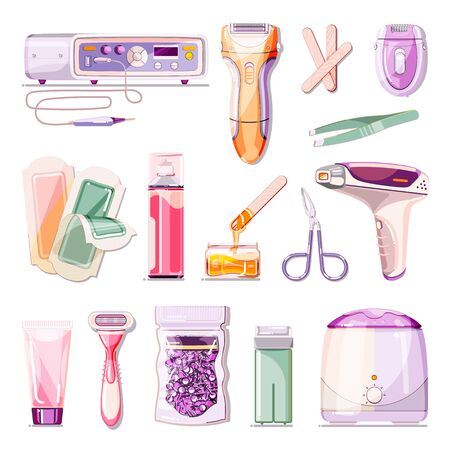 Hair removal methods vector cartoon illustration. Beauty salon epilation and depilation icons set. Body care and cosmetology treatment design elements. Stock Illustratie