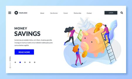 Money savings business concept. Vector 3d isometric illustration. People putting money to piggybank. Economy, charity donation or crowdfunding landing page, banner or poster design template.
