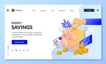 Money savings business concept. Vector 3d isometric illustration. Human hand putting money to piggybank surrounded by gold coins, credit card. Economy, donation landing page, banner design template.