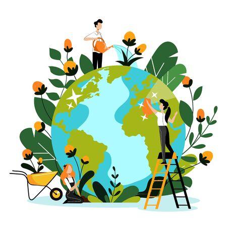 Ambiente, ecologia, concetto di protezione della natura. Giovani volontari si prendono cura del pianeta Terra e della natura ambientale. Piatto del fumetto di vettore. Persone che puliscono, innaffiano e piantano fiori.