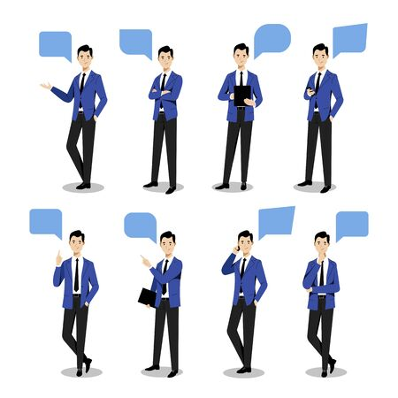 Young businessman set in different poses, on white background. Vector flat illustration. Man cartoon character in blue suit, isolated design elements. Çizim