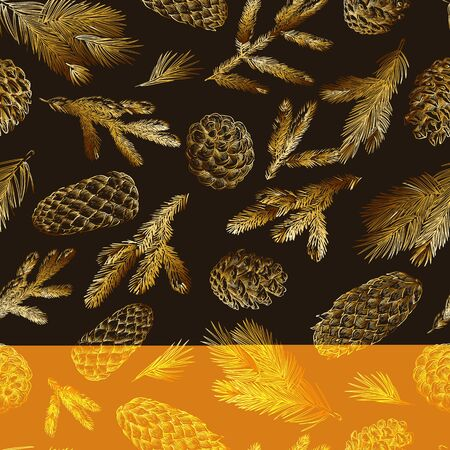 Golden pine branches and cones seamless pattern. Hand drawn spruce coniferous forest elements on black background. Vector sketch illustration. Winter, autumn design for fashion textile prints. Ilustração