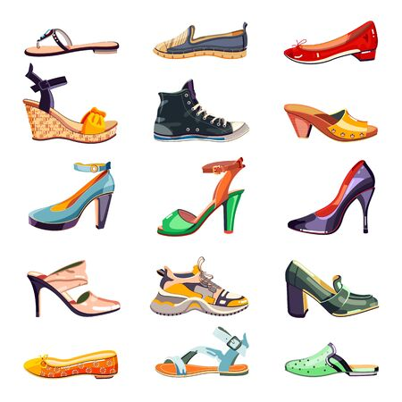 Female fashion elegant shoes icons and design elements set. Vector cartoon illustration. Summer, autumn and spring trendy footwear collection, isolated on white background. Иллюстрация
