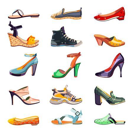 Icone di scarpe eleganti moda femminile e set di elementi di design. Illustrazione del fumetto di vettore. Collezione di calzature alla moda estate, autunno e primavera, isolata su sfondo bianco. Vettoriali