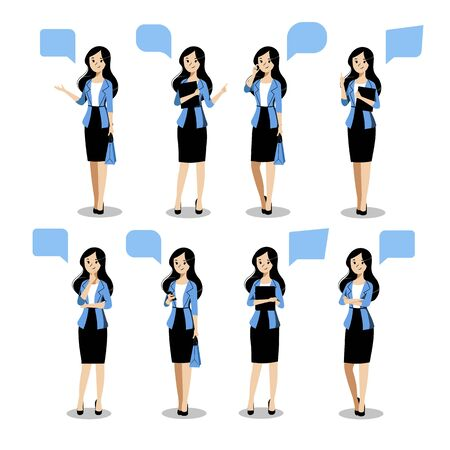 Young business woman set in different poses, on white background. Vector flat illustration. Female cartoon character in blue blazer and black skirt, isolated design elements.