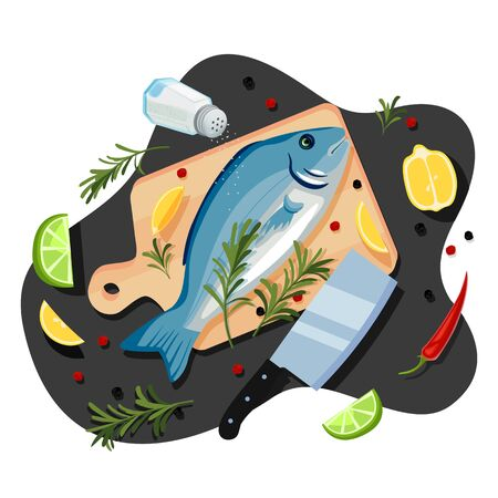Cooking fish dorado, tuna, trout, vector cartoon top view illustration. Black kitchen table background with sea bream on cutting board, spices and ingredients. Seafood restaurant menu design elements
