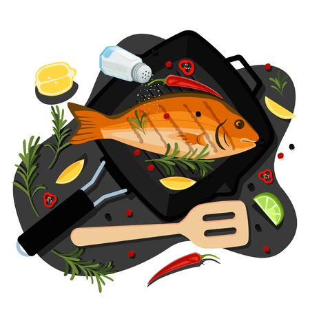 Cooking fish dorado, tuna, trout, vector flat cartoon top view illustration. Black grill pan with fried sea bream, spices and ingredients. Seafood restaurant menu design elements.