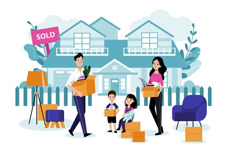 Young happy family with two kids move to their new house. Vector flat cartoon illustration. Mother, father, children carry boxes and unpack things. Relocation and moving concept.
