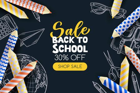 Back to school sale poster, banner design template. Vector 3d illustration of pencils and sketch school supplies on blackboard background. Minimal modern education concept.