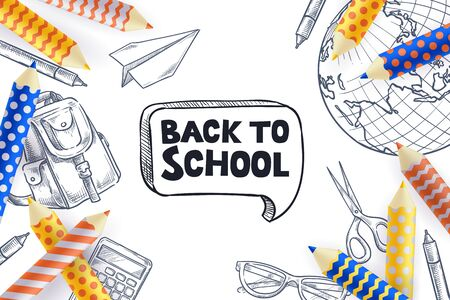 Back to school sale poster, banner design template. Vector 3d illustration of multicolor pencils and sketch school supplies on white background. Creative modern education concept. Иллюстрация