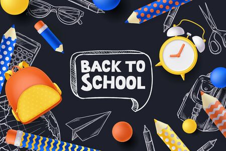 Back to school sale poster, banner design template. Vector 3d illustration of backpack, pencils, alarm clock and sketch school supplies on blackboard background. Creative modern education concept.