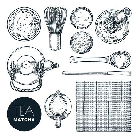 Matcha-Grüntee-Zutatenset. Gezeichnete Skizzenillustration des Vektors Hand, lokalisiert auf weißem Hintergrund. Traditionelle japanische Teezeremonie, Draufsichtobjekte und Designelemente