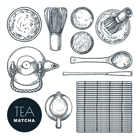 Matcha green tea ingredient set. Vector hand drawn sketch illustration, isolated on white background. Traditional japanese tea ceremony, top view objects and design elements Illustration