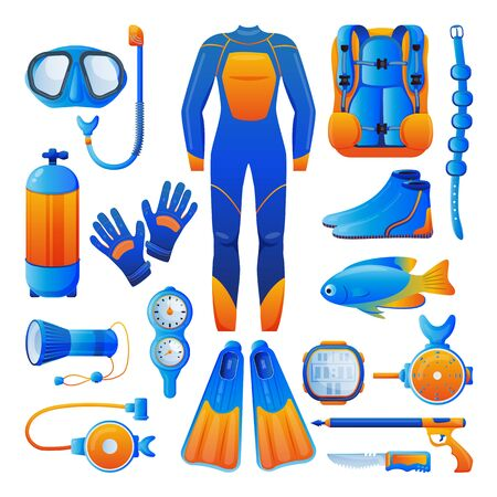 Diving and snorkelling equipment, icons and design elements set, isolated on white background. Vector flat cartoon illustration. Water and underwater extreme sports gears and accessories. Stock Illustratie
