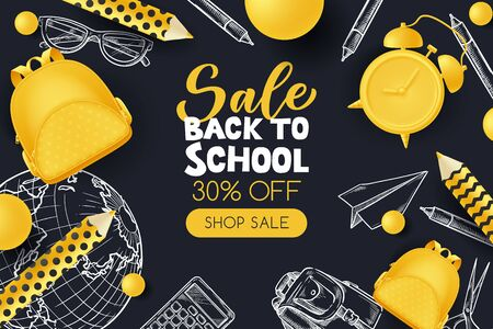 Back to school sale poster, banner design template. Vector 3d illustration of yellow backpack, pencils, alarm clock and sketch school supplies on black background. Creative modern education concept.
