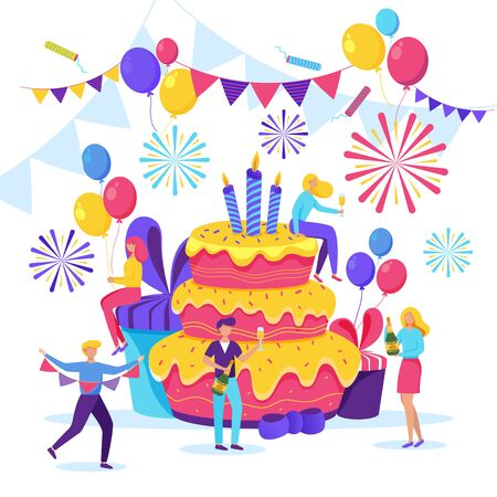 Happy young people celebrating a birthday. Vector flat cartoon illustration. Men and women have a fun party with big pink cake, gifts and champagne.