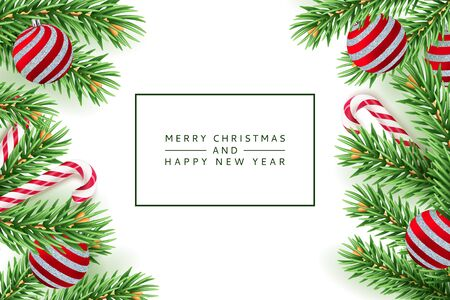 Merry Christmas, Happy New Year poster, banner white background. Vector 3d realistic illustration of green pine branches, red balls and striped stick candy. Minimal modern winter holiday frame.
