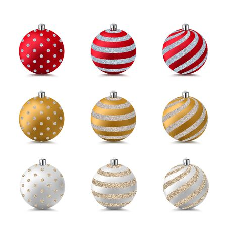 Christmas and New Year tree decoration. Realistic 3d bauble balls with glitter shiny pattern. Vector design elements. Golden, red and white holiday toys set, isolated on white background. Ilustrace