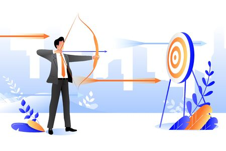 Business goal achievement concept. Vector flat cartoon illustration. Successful businessman aiming target with bow and arrow.