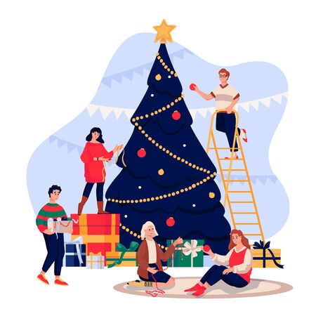 Happy young people decorating Christmas Tree. Family celebrating New Year Eve. Vector flat cartoon illustration. Men and women have a fun winter holiday time. Vector Illustration
