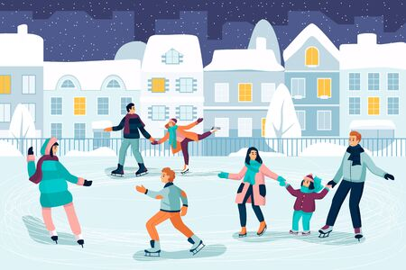 Happy young people skating. Couple, kids and family spend time on ice rink. Vector flat cartoon illustration. Outdoor winter leisure activity and seasonal sport concept. Illusztráció