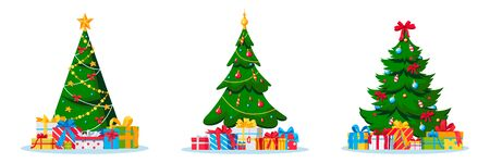 Decorated holiday Christmas trees. Vector flat cartoon illustration. Celebrating New Year Eve greeting cards design elements. Set of fir-trees with baubles and toys, isolated on white background