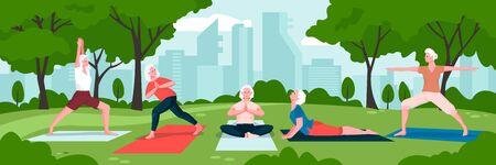Senior women practicing yoga and meditation in green city park. Vector flat cartoon illustration. Concept of active healthy lifestyle of elderly females. Ilustração