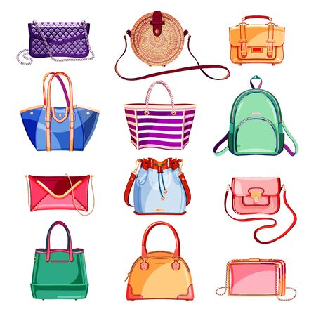 Female fashion elegant bags and purse icons and design elements set. Vector cartoon illustration. Glamour, stylish and casual trendy handbags collection, isolated on white background.