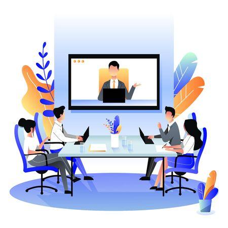 Groep zakenmensen tijdens de videoconferentiegesprek in de bestuurskamer. Vectorillustratie platte cartoon. Online meeting met CEO, manager of directeur. Bedrijfsadviesconcept.
