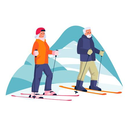 Elderly couple skiing in the mountains. Vector flat cartoon illustration of winter outdoor leisure. Concept of active healthy lifestyle of seniors.