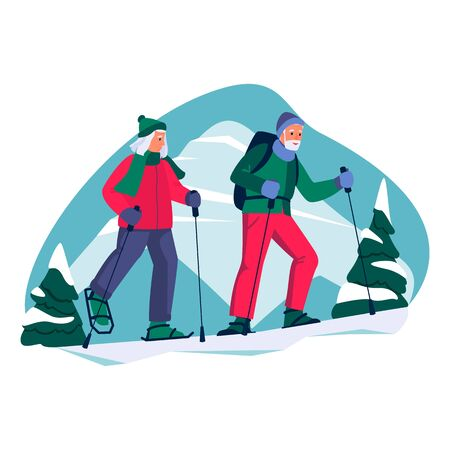 Elderly couple nordic walking in the mountains. Vector flat cartoon illustration of winter outdoor leisure. Concept of active healthy lifestyle of seniors.