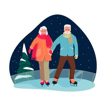 Elderly couple skate on the ice rink. Vector flat cartoon illustration of winter outdoor leisure. Concept of active healthy lifestyle of seniors. Illusztráció