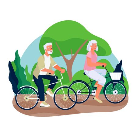 Elderly couple ride bicycles in the countryside. Vector flat cartoon illustration of spring or summer outdoor leisure. Concept of active healthy lifestyle of seniors.
