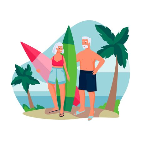 Elderly couple with surfboards by the ocean. Vector flat cartoon illustration of summer beach outdoor leisure. Concept of active healthy lifestyle of seniors.