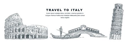 Travel to Italy hand drawn design elements. Vector sketch illustration of Colosseum, Leaning Tower of Pisa, Rialto Bridge. Rome, Venice, Pisa famous symbols isolated on white background. Illustration