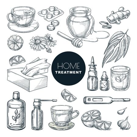 Home remedies treatment and medicines for colds, coughs. Vector hand drawn sketch illustration. Healthcare natural herbal therapy icons, isolated on white background. Ilustrace