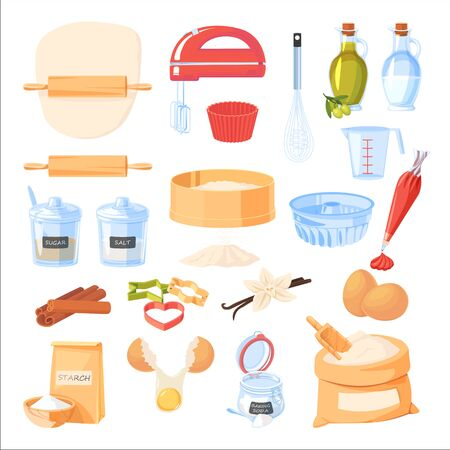 Baking ingredients and kitchen utensil icons. Vector flat cartoon illustration. Cooking and recipe design elements set, isolated on white background.
